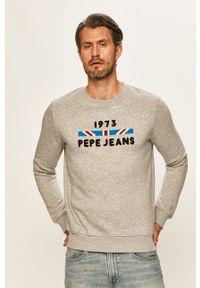 Szara bluza nierozpinana Pepe Jeans na co dzień, z okrągłym kołnierzem