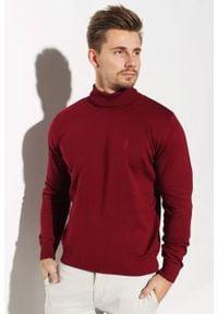 Golf Edward Orlovski Bordowy. Typ kołnierza: golf. Kolor: czerwony. Materiał: akryl, bawełna. Sezon: zima. Styl: klasyczny