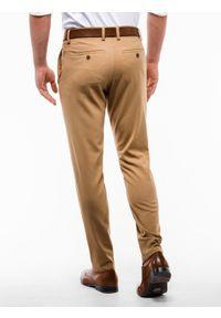 Ombre Clothing - Spodnie męskie chino P832 - rude - XL. Kolor: brązowy. Materiał: wiskoza, poliester, tkanina, elastan. Styl: elegancki, klasyczny