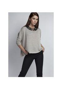 MKM - Gładki Sweter Oversize z Połyskującą Nitką - Szary. Kolor: szary. Materiał: akryl, wiskoza. Wzór: gładki