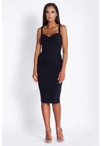 Czarna sukienka wizytowa Dursi ołówkowa, midi, na ramiączkach