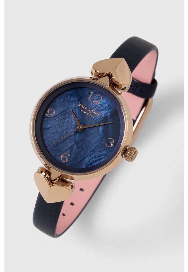 Kate Spade - Zegarek. Kolor: niebieski. Materiał: skóra, materiał