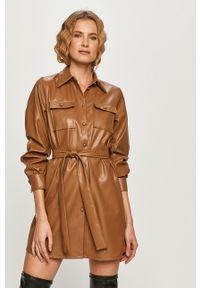 Beżowa sukienka only z długim rękawem, casualowa, rozkloszowana, mini
