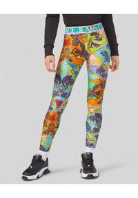 Versace Jeans Couture - VERSACE JEANS COUTURE - Leginsy z nadrukiem. Okazja: na co dzień. Kolor: niebieski. Materiał: materiał. Wzór: nadruk. Styl: klasyczny, casual