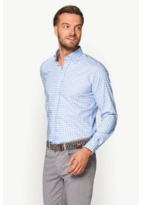 Lancerto - Koszula Błękitna w Kratę Jasmina. Kolor: niebieski. Materiał: tkanina, bawełna. Wzór: kratka, haft