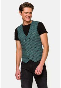 Lancerto - Kamizelka Zielona w Kratę Nola. Typ kołnierza: golf. Kolor: zielony. Materiał: jeans, wiskoza, materiał, elastan, tkanina, poliester. Wzór: ze splotem, kratka, kolorowy