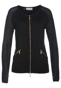 Sweter rozpinany bonprix czarny. Kolor: czarny. Materiał: dzianina. Wzór: ze splotem. Styl: elegancki