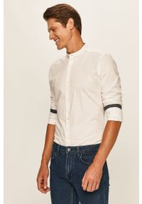 Biała koszula Only & Sons długa, na co dzień, ze stójką, casualowa