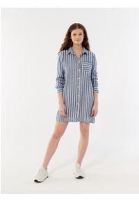 outhorn - Długa koszula z lnem damska. Okazja: na co dzień. Materiał: len. Długość rękawa: długi rękaw. Długość: długie. Styl: wakacyjny, casual