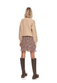 TOP SECRET - Spódnica regularna damska z nadrukiem. Kolor: beżowy. Materiał: dzianina. Wzór: nadruk. Sezon: zima