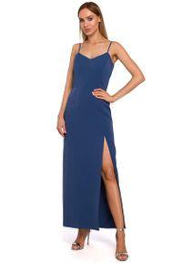 MOE - Niebieska Maxi Sukienka na Ramiączkach z Połyskiem. Kolor: niebieski. Materiał: poliester, elastan. Długość rękawa: na ramiączkach. Długość: maxi