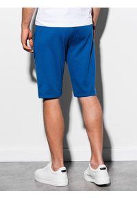 Ombre Clothing - Krótkie spodenki męskie dresowe W239 - niebieskie - XXL. Okazja: na co dzień. Kolor: niebieski. Materiał: dresówka. Długość: krótkie. Wzór: nadruk. Sezon: wiosna, lato. Styl: casual, klasyczny