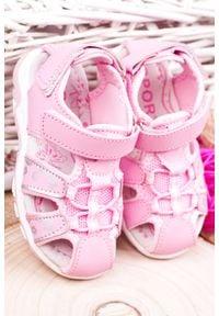 Casu - różowe sandały na rzepy casu la117. Zapięcie: rzepy. Kolor: różowy