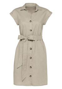 Sukienka lniana bonprix beżowy. Kolor: beżowy. Materiał: len #1