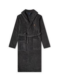 Ralph Lauren - RALPH LAUREN - Szary szlafrok z wiązaniem. Typ kołnierza: polo. Kolor: szary. Materiał: bawełna, tkanina. Wzór: haft, kolorowy