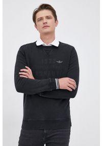 Aeronautica Militare - Bluza bawełniana. Okazja: na co dzień. Kolor: czarny. Materiał: bawełna. Wzór: gładki, aplikacja. Styl: casual