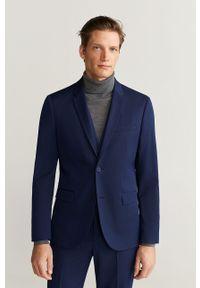Niebieska marynarka Mango Man elegancka, z klasycznym kołnierzykiem