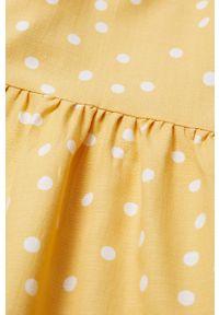 Żółta sukienka Mango Kids mini, w grochy