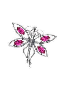 Polcarat Design - Srebrna broszka z kryształami Swarovski WB 206. Materiał: srebrne. Kolor: srebrny. Wzór: aplikacja. Kamień szlachetny: kryształ