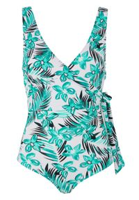 Kostium kąpielowy, przyjazny dla środowiska bonprix turkusowo-biały w roślinny wzór. Kolor: niebieski. Materiał: materiał