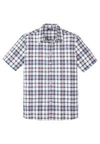 Koszula z krótkim rękawem, z materiału z domieszką lnu bonprix biały w kratę. Kolor: biały. Materiał: materiał, len. Długość rękawa: krótki rękaw. Długość: krótkie