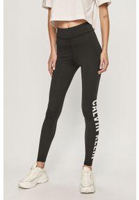 Czarne legginsy Calvin Klein Performance z nadrukiem, z podwyższonym stanem