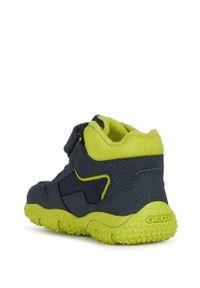 Niebieskie buty zimowe Geox na zimę, na rzepy, z okrągłym noskiem, z cholewką
