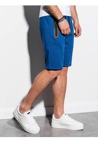 Ombre Clothing - Krótkie spodenki męskie dresowe W239 - niebieskie - XXL. Okazja: na co dzień. Kolor: niebieski. Materiał: dresówka. Długość: krótkie. Wzór: nadruk. Sezon: wiosna, lato. Styl: klasyczny, casual #4