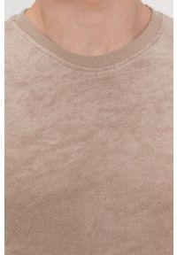 Brave Soul - T-shirt. Okazja: na co dzień. Kolor: beżowy. Materiał: dzianina. Wzór: gładki. Styl: casual