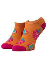 Pomarańczowe skarpetki Freakers w kolorowe wzory