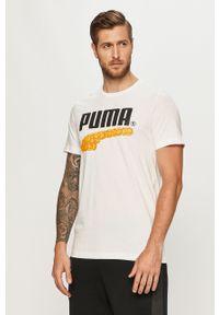 Biały t-shirt Puma na co dzień, z nadrukiem, z okrągłym kołnierzem