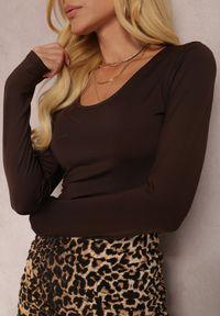 Renee - Ciemnobrązowe Body Hephete. Kolor: brązowy. Materiał: dzianina. Długość: długie