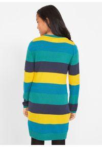 Sukienka dziewczęca dzianinowa w szerokie paski bonprix niebiesko-żółty szafranowy w paski. Kolor: niebieski. Materiał: dzianina. Wzór: paski