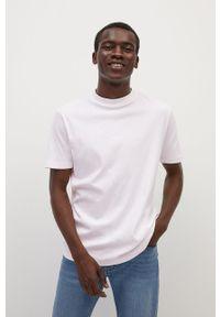 Biały t-shirt Mango Man na co dzień, z okrągłym kołnierzem