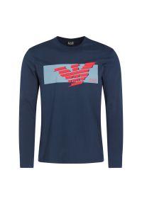Niebieska koszulka z długim rękawem EA7 Emporio Armani