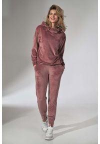Figl - Dresowe Spodnie z Weluru - Różowe. Kolor: różowy. Materiał: welur, dresówka