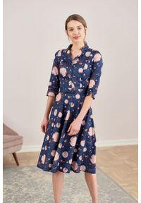 Marie Zélie - Sukienka Indis Anates granatowa. Kolor: niebieski. Materiał: bawełna, satyna, skóra, materiał. Typ sukienki: trapezowe. Styl: vintage