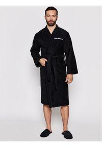 Czarny szlafrok Karl Lagerfeld z dekoltem karo