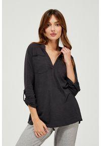 Bluzka MOODO z długim rękawem, w ażurowe wzory, długa, klasyczna
