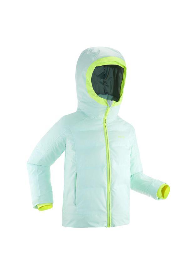 WEDZE - Kurtka narciarska 580 WARM dla dzieci. Kolor: wielokolorowy, zielony, żółty. Materiał: materiał. Sezon: zima. Sport: narciarstwo