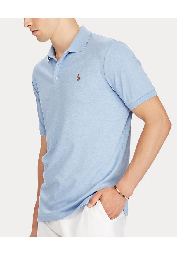 Ralph Lauren - RALPH LAUREN - Niebieska koszulka Slim Fit Soft. Okazja: na co dzień. Typ kołnierza: polo. Kolor: niebieski. Materiał: bawełna, prążkowany. Wzór: kolorowy, haft, melanż. Styl: casual