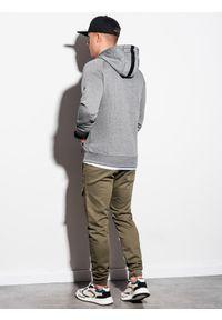 Ombre Clothing - Bluza męska rozpinana z kapturem B1083 - szary melanż - XL. Typ kołnierza: kaptur. Kolor: szary. Materiał: poliester, materiał, bawełna. Wzór: melanż