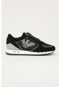 Czarne sneakersy EA7 Emporio Armani na obcasie, na sznurówki, z cholewką, z okrągłym noskiem