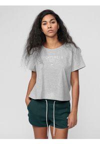 4f - T-shirt damski. Kolor: szary. Materiał: dzianina, bawełna