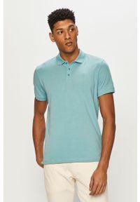Niebieska koszulka polo Premium by Jack&Jones krótka, casualowa, gładkie
