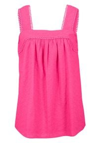 Bluzka bez rękawów bawełniana bonprix różowy pink lady. Kolor: różowy. Materiał: bawełna. Długość rękawa: bez rękawów