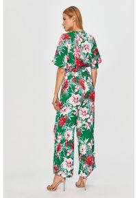 Zielony kombinezon Vila z krótkim rękawem, na co dzień, w kwiaty, krótki