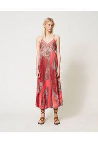 Różowa sukienka TwinSet na ramiączkach, z nadrukiem