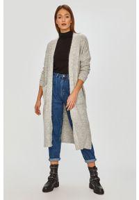 Szary sweter rozpinany Answear Lab długi, wakacyjny, z długim rękawem, na co dzień
