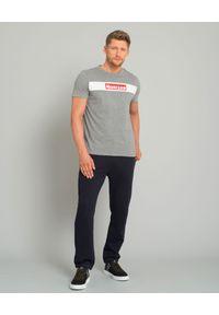 MONCLER - Szary t-shirt z logo. Okazja: na co dzień. Kolor: szary. Materiał: jeans, materiał, bawełna. Styl: klasyczny, casual